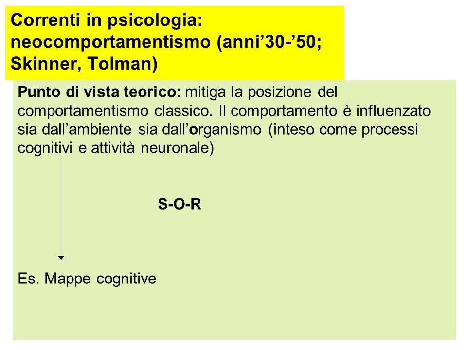 Correnti in psicologia: comportamentismo classico (dal 1913 al 1930; Watson) Finalità: previsione e controllo del comportamento Ambito applicativo pre