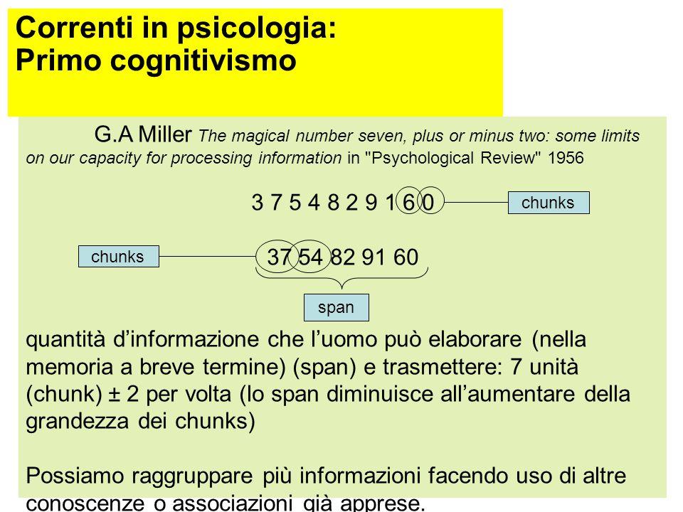 Correnti in psicologia: Primo Cognitivismo (1955-1976) Anni '50: lo sviluppo dei computer (in grado di eseguire compiti che prima potevano essere svol