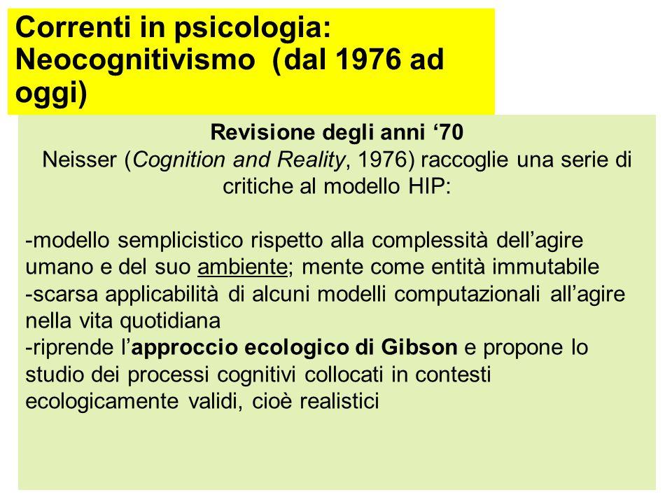 Correnti in psicologia: Primo cognitivismo Metodo: simulazione del comportamento Una volta ipotizzate le operazioni mentali che intervengano nell'esecuzione da parte dell'uomo di un certo compito (es.