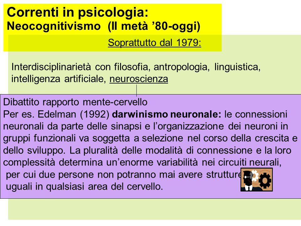 Correnti in psicologia: Neocognitivismo (II metà '80- oggi) Un'altra critica all'HIP: -primo cognitivismo come forma sofisticata del neocomportamentismo: entrambi si basano sulla visione dell'uomo come sistema fatto di input e output = visione seriale, lineare della mente umana