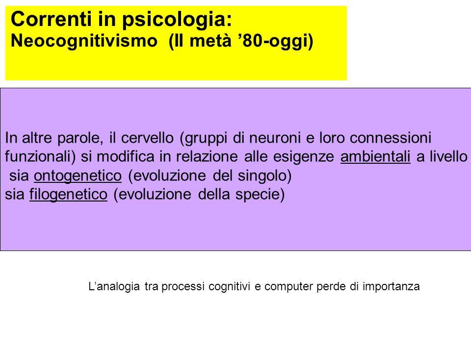 Correnti in psicologia: Neocognitivismo (II metà '80-oggi) Soprattutto dal 1979: Interdisciplinarietà con filosofia, antropologia, linguistica, intell