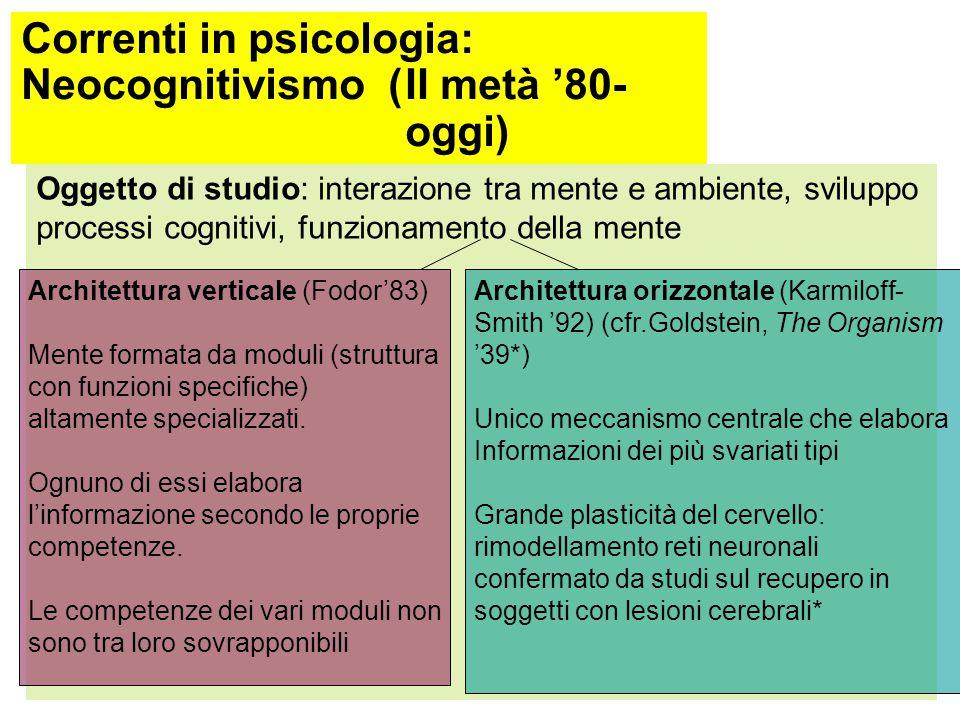 Correnti in psicologia: Neocognitivismo (II metà '80-oggi) In altre parole, il cervello (gruppi di neuroni e loro connessioni funzionali) si modifica in relazione alle esigenze ambientali a livello sia ontogenetico (evoluzione del singolo) sia filogenetico (evoluzione della specie) L'analogia tra processi cognitivi e computer perde di importanza