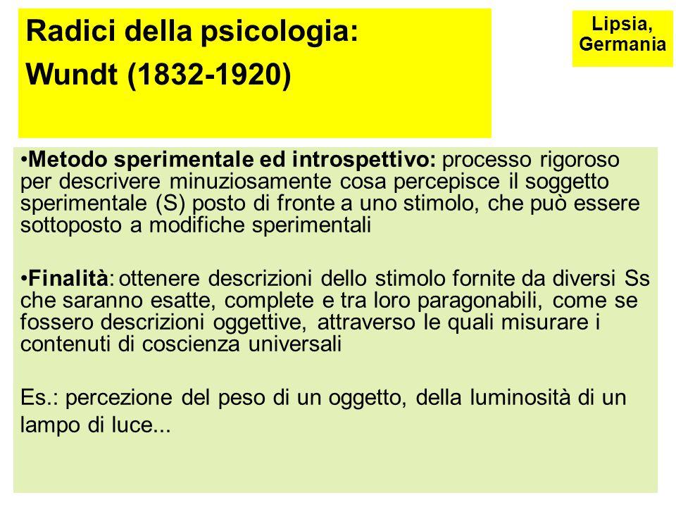 Radici della psicologia: Wundt (1832-1920) Prof. di Filosofia all'università di Lipsia e formazione in ambito medico Oggetto di studio: esperienza con