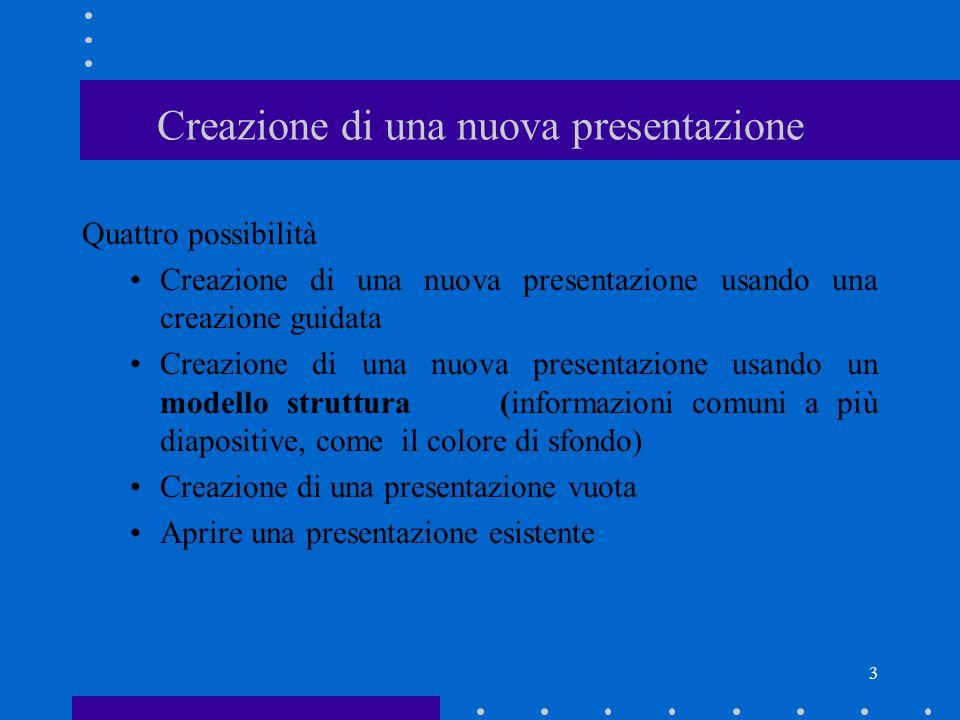 3 Creazione di una nuova presentazione Quattro possibilità Creazione di una nuova presentazione usando una creazione guidata Creazione di una nuova presentazione usando un modello struttura (informazioni comuni a più diapositive, come il colore di sfondo) Creazione di una presentazione vuota Aprire una presentazione esistente