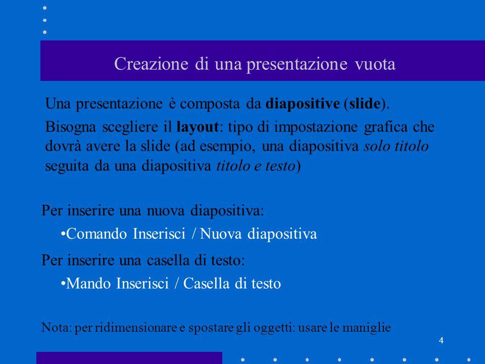 4 Creazione di una presentazione vuota Una presentazione è composta da diapositive (slide).
