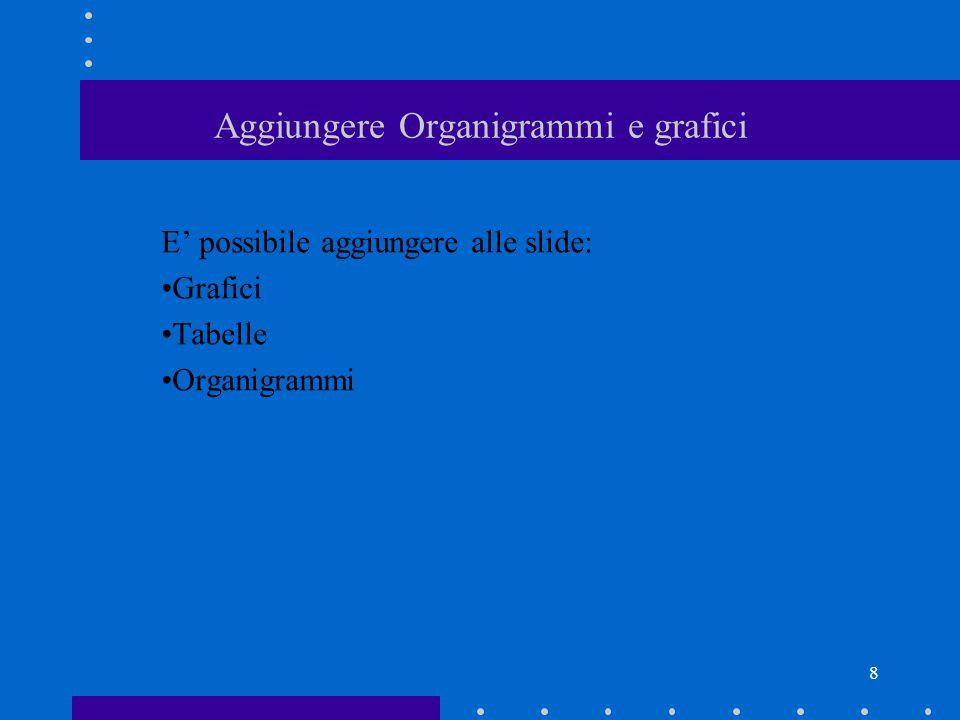 8 Aggiungere Organigrammi e grafici E' possibile aggiungere alle slide: Grafici Tabelle Organigrammi