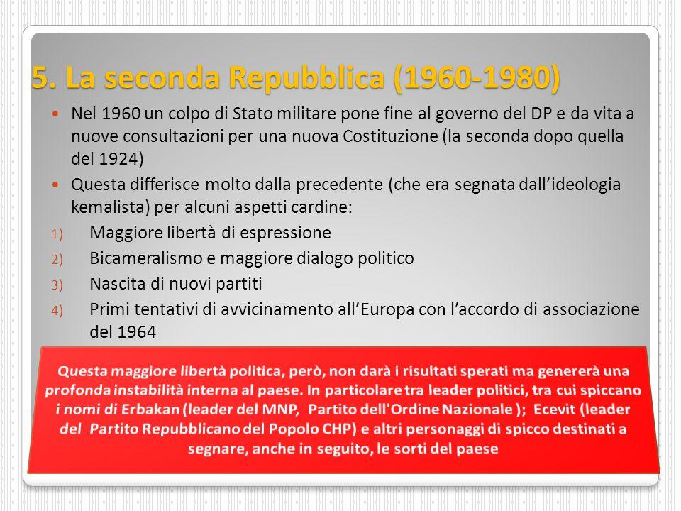 5. La seconda Repubblica (1960-1980) Nel 1960 un colpo di Stato militare pone fine al governo del DP e da vita a nuove consultazioni per una nuova Cos