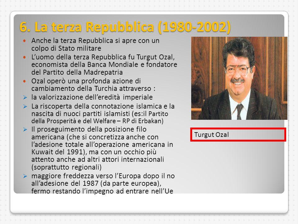 6. La terza Repubblica (1980-2002) Anche la terza Repubblica si apre con un colpo di Stato militare L'uomo della terza Repubblica fu Turgut Ozal, econ