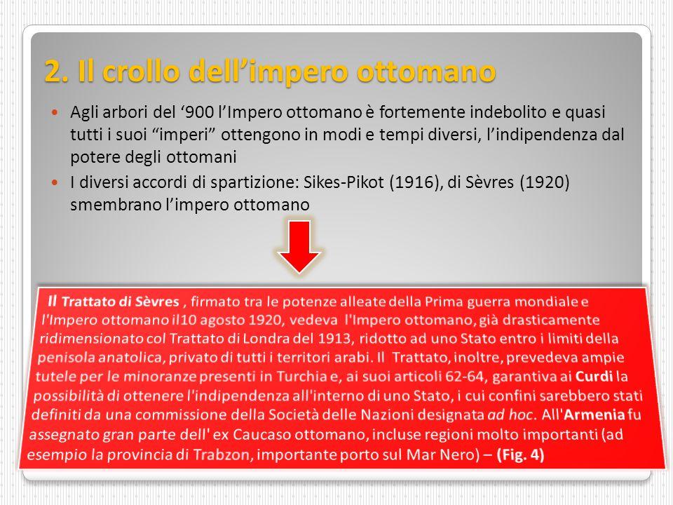 """2. Il crollo dell'impero ottomano Agli arbori del '900 l'Impero ottomano è fortemente indebolito e quasi tutti i suoi """"imperi"""" ottengono in modi e tem"""