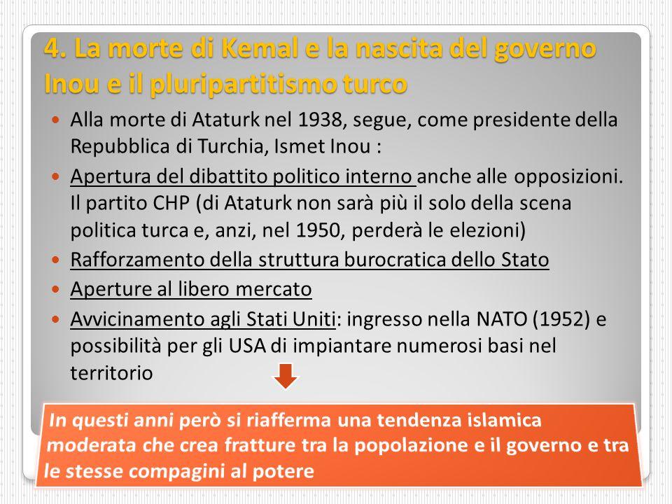 4. La morte di Kemal e la nascita del governo Inou e il pluripartitismo turco Alla morte di Ataturk nel 1938, segue, come presidente della Repubblica