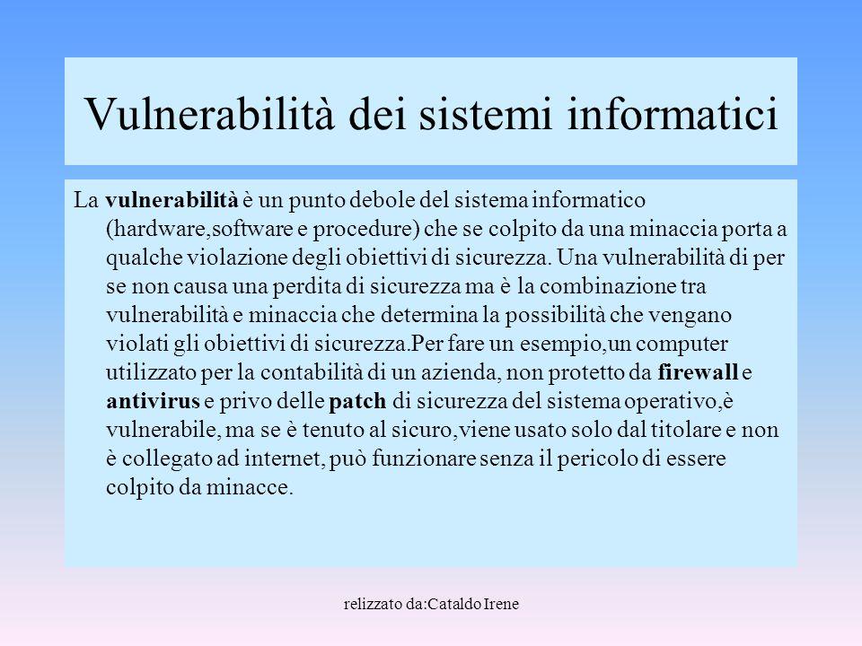 relizzato da:Cataldo Irene Vulnerabilità dei sistemi informatici La vulnerabilità è un punto debole del sistema informatico (hardware,software e proce