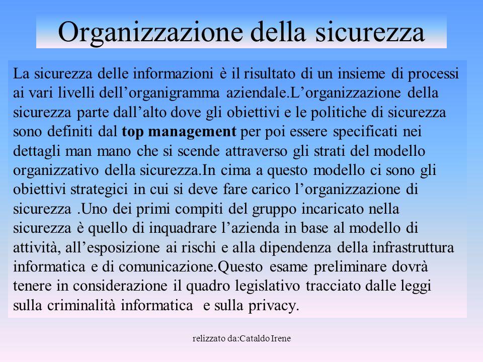 relizzato da:Cataldo Irene Organizzazione della sicurezza La sicurezza delle informazioni è il risultato di un insieme di processi ai vari livelli del