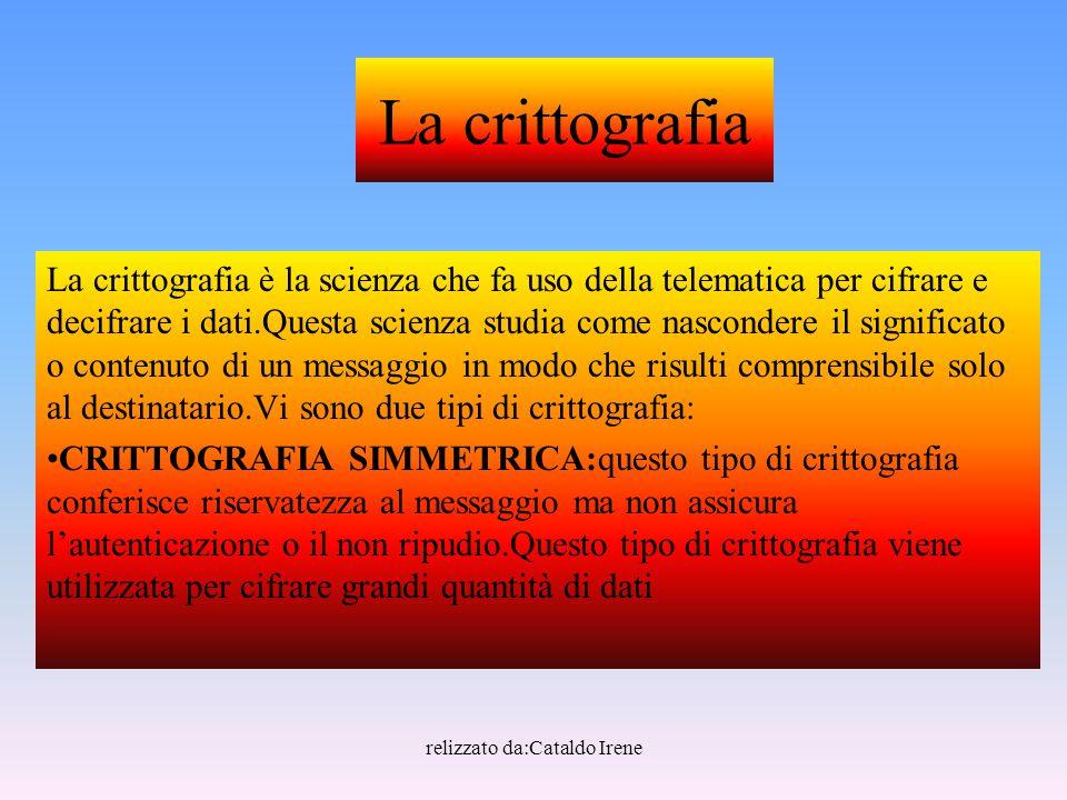 relizzato da:Cataldo Irene La crittografia La crittografia è la scienza che fa uso della telematica per cifrare e decifrare i dati.Questa scienza stud