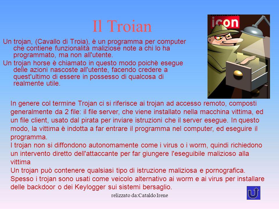 relizzato da:Cataldo Irene Il Troian Un trojan, (Cavallo di Troia), è un programma per computer che contiene funzionalità maliziose note a chi lo ha p