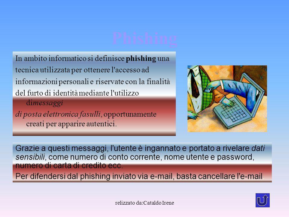 relizzato da:Cataldo Irene Phishing In ambito informatico si definisce phishing una tecnica utilizzata per ottenere l'accesso ad informazioni personal