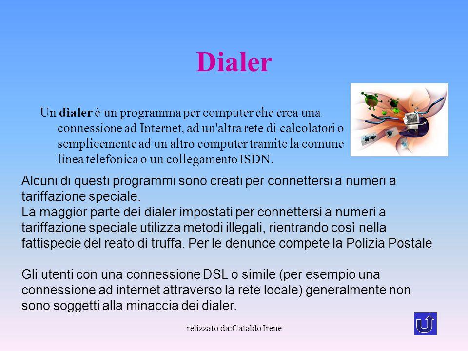 relizzato da:Cataldo Irene Dialer Un dialer è un programma per computer che crea una connessione ad Internet, ad un'altra rete di calcolatori o sempli