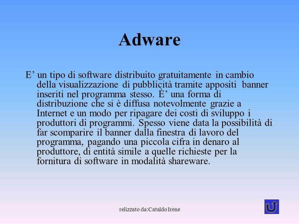 relizzato da:Cataldo Irene Adware E' un tipo di software distribuito gratuitamente in cambio della visualizzazione di pubblicità tramite appositi bann