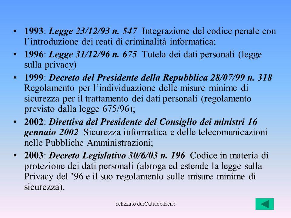 relizzato da:Cataldo Irene 1993: Legge 23/12/93 n. 547 Integrazione del codice penale con l'introduzione dei reati di criminalità informatica; 1996: L