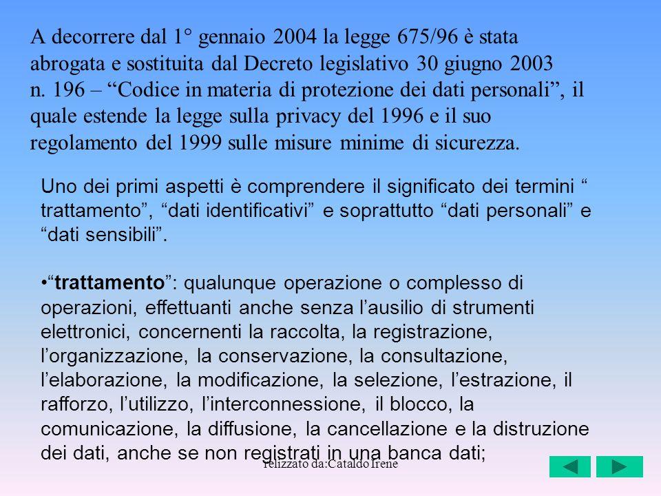 relizzato da:Cataldo Irene A decorrere dal 1° gennaio 2004 la legge 675/96 è stata abrogata e sostituita dal Decreto legislativo 30 giugno 2003 n. 196