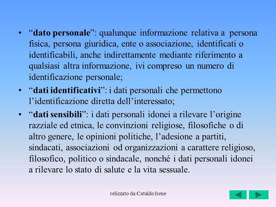 """relizzato da:Cataldo Irene """"dato personale"""": qualunque informazione relativa a persona fisica, persona giuridica, ente o associazione, identificati o"""