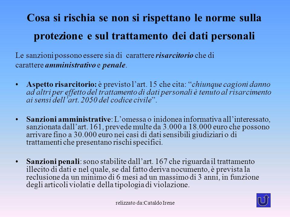 relizzato da:Cataldo Irene Cosa si rischia se non si rispettano le norme sulla protezione e sul trattamento dei dati personali Le sanzioni possono ess