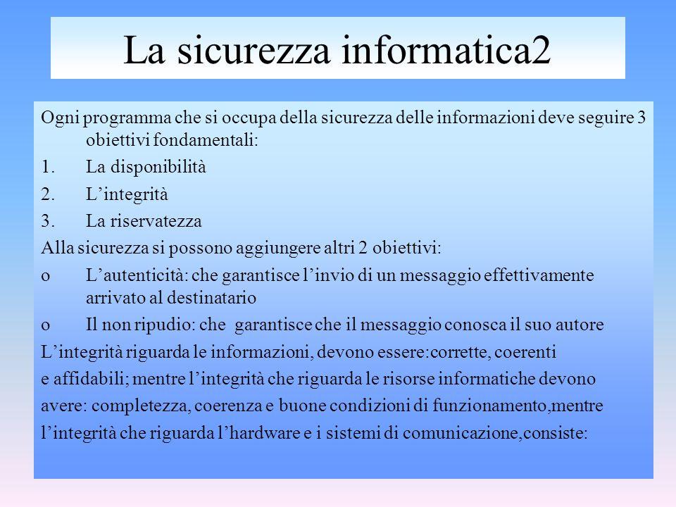 relizzato da:Cataldo Irene LA SICUREZZA INFORMATICA -nella corretta elaborazione dei dati -in un livello adeguato di prestazioni -in un corretto instradamento dei dati Mentre per l'integrità che riguarda il software: -la completezza e la coerenza dei moduli del sistema e delle applicazioni -la correttezza dei file critici di sistema e di configurazione LA RISERVATEZZA La riservatezza consiste nel limitare l'accesso alle informazioni e alle risorse Informatiche alle sole persone autorizzate.Si applica sia alla comunicazione all'archiviazione sia alla comunicazione delle informazioni.
