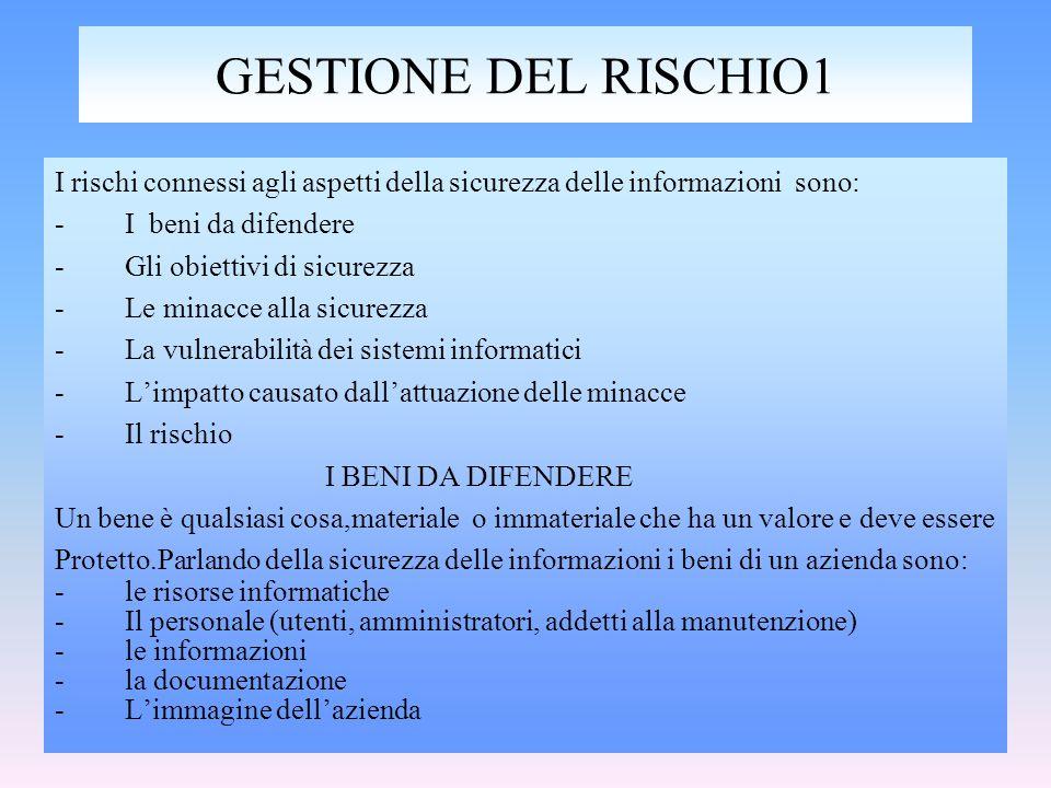 relizzato da:Cataldo Irene GESTIONE DEL RISCHIO1 I rischi connessi agli aspetti della sicurezza delle informazioni sono: -I beni da difendere -Gli obi