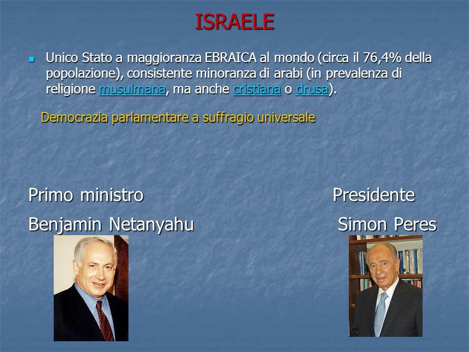 ISRAELE Unico Stato a maggioranza EBRAICA al mondo (circa il 76,4% della popolazione), consistente minoranza di arabi (in prevalenza di religione musulmana, ma anche cristiana o drusa).