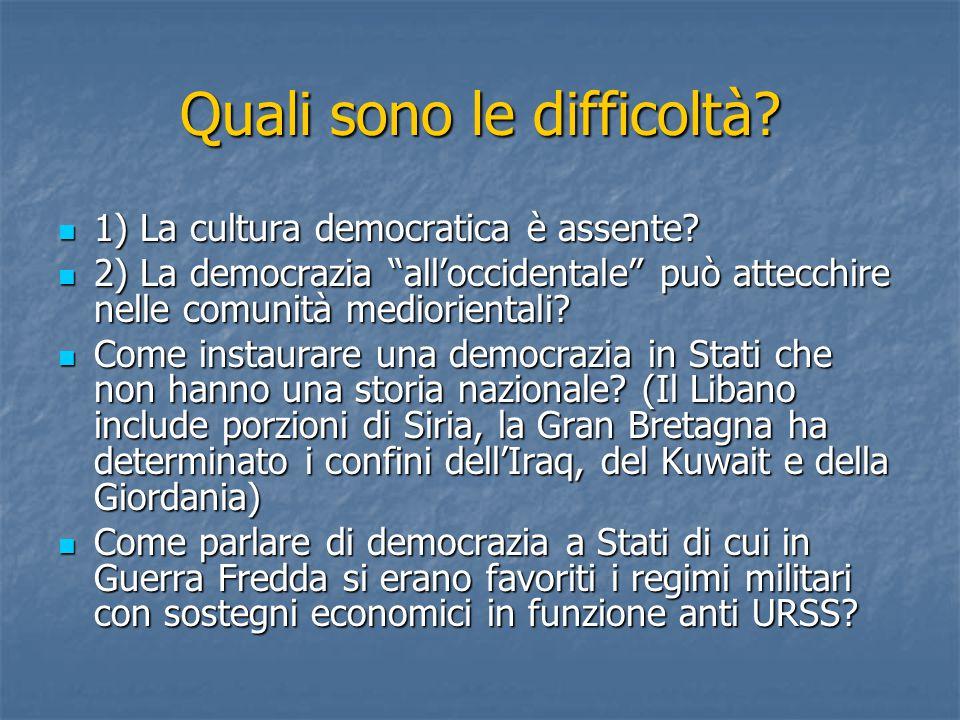 Quali sono le difficoltà. 1) La cultura democratica è assente.