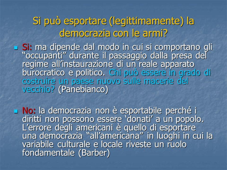 Si può esportare (legittimamente) la democrazia con le armi.