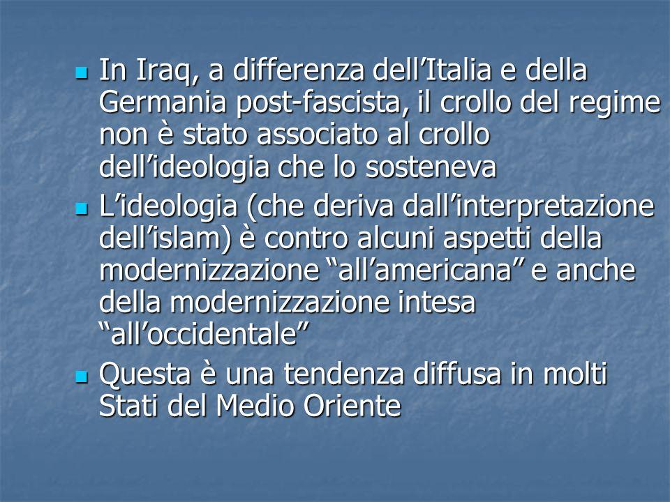 In Iraq, a differenza dell'Italia e della Germania post-fascista, il crollo del regime non è stato associato al crollo dell'ideologia che lo sosteneva In Iraq, a differenza dell'Italia e della Germania post-fascista, il crollo del regime non è stato associato al crollo dell'ideologia che lo sosteneva L'ideologia (che deriva dall'interpretazione dell'islam) è contro alcuni aspetti della modernizzazione all'americana e anche della modernizzazione intesa all'occidentale L'ideologia (che deriva dall'interpretazione dell'islam) è contro alcuni aspetti della modernizzazione all'americana e anche della modernizzazione intesa all'occidentale Questa è una tendenza diffusa in molti Stati del Medio Oriente Questa è una tendenza diffusa in molti Stati del Medio Oriente