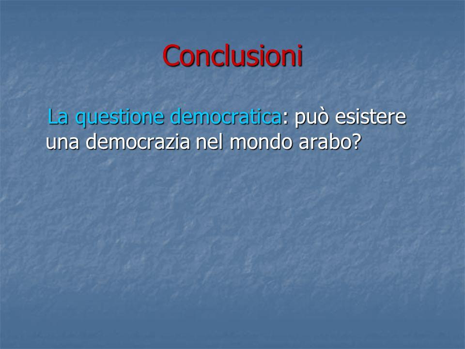 Conclusioni La questione democratica: può esistere una democrazia nel mondo arabo.
