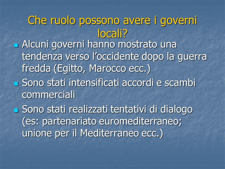 Che ruolo possono avere i governi locali.