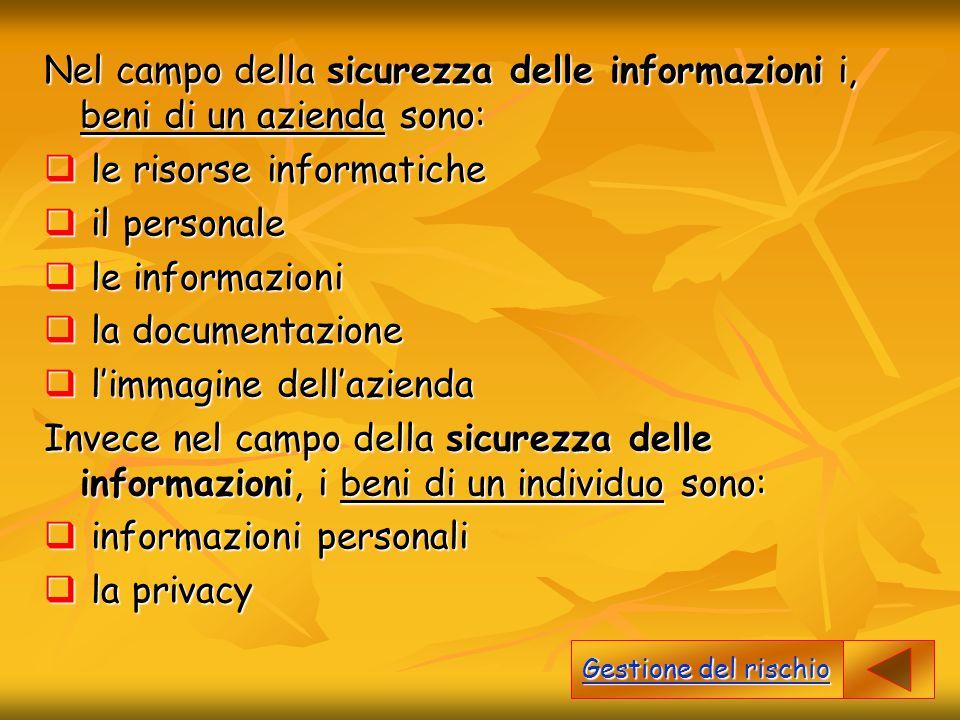 Nel campo della sicurezza delle informazioni i, beni di un azienda sono:  le risorse informatiche  il personale  le informazioni  la documentazion