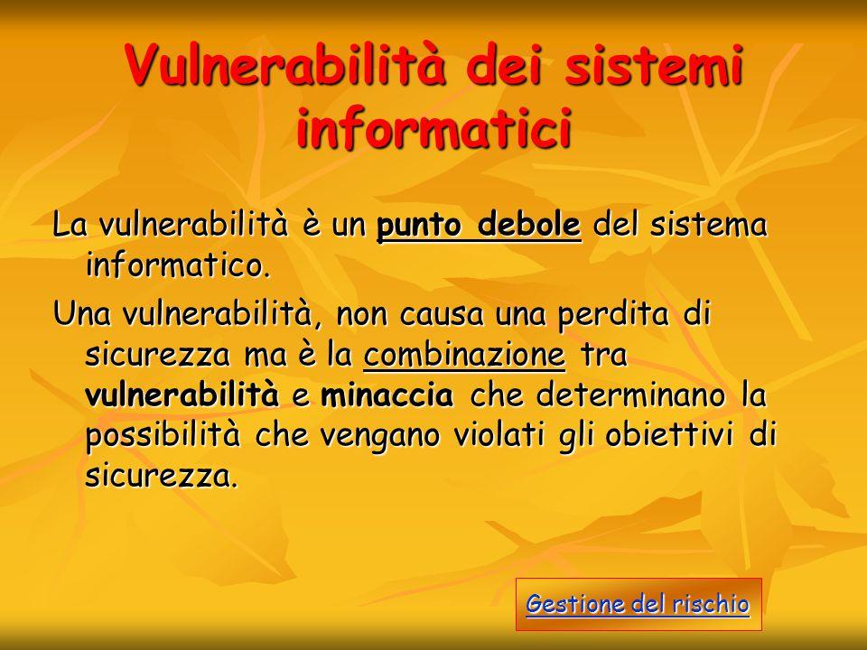 Vulnerabilità dei sistemi informatici La vulnerabilità è un punto debole del sistema informatico. Una vulnerabilità, non causa una perdita di sicurezz