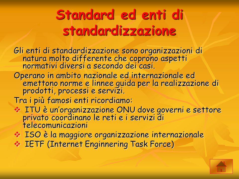 Standard ed enti di standardizzazione Gli enti di standardizzazione sono organizzazioni di natura molto differente che coprono aspetti normativi diver