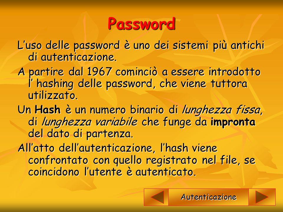 Password L'uso delle password è uno dei sistemi più antichi di autenticazione. A partire dal 1967 cominciò a essere introdotto l' hashing delle passwo