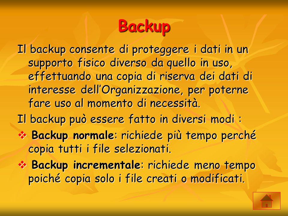 Backup Il backup consente di proteggere i dati in un supporto fisico diverso da quello in uso, effettuando una copia di riserva dei dati di interesse