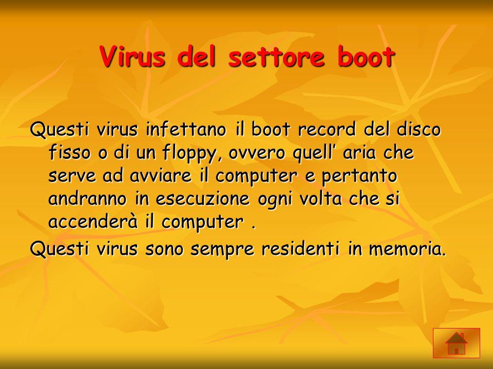 Virus del settore boot Questi virus infettano il boot record del disco fisso o di un floppy, ovvero quell' aria che serve ad avviare il computer e per