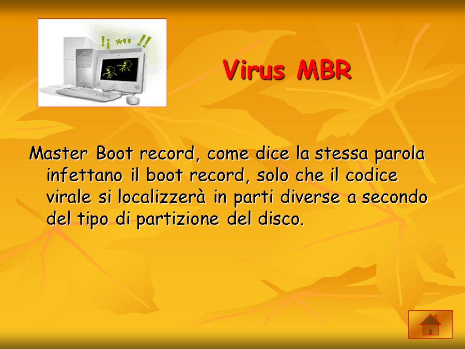 Virus MBR Master Boot record, come dice la stessa parola infettano il boot record, solo che il codice virale si localizzerà in parti diverse a secondo