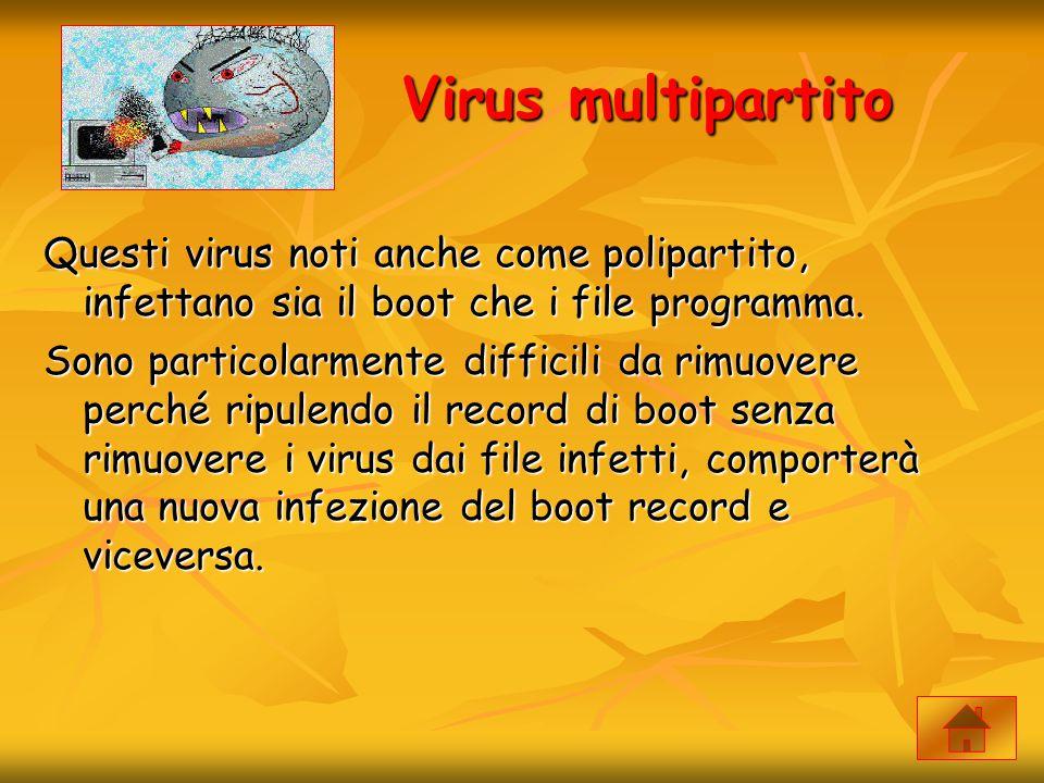Virus multipartito Questi virus noti anche come polipartito, infettano sia il boot che i file programma. Sono particolarmente difficili da rimuovere p