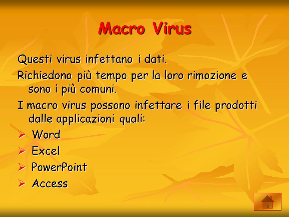 Macro Virus Questi virus infettano i dati. Richiedono più tempo per la loro rimozione e sono i più comuni. I macro virus possono infettare i file prod