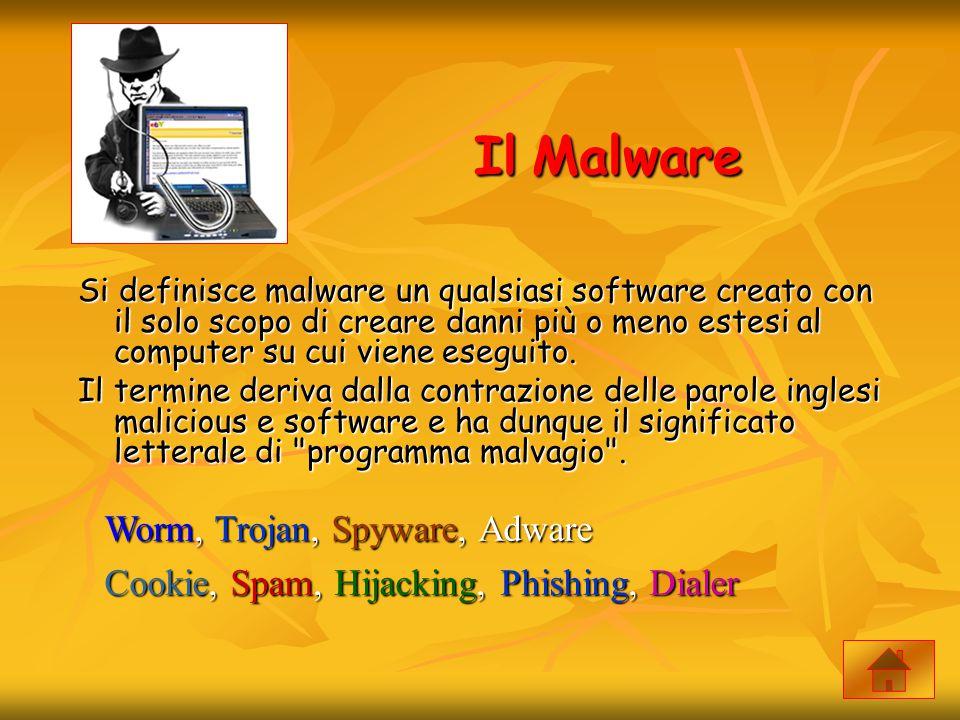 Il Malware Si definisce malware un qualsiasi software creato con il solo scopo di creare danni più o meno estesi al computer su cui viene eseguito. Il
