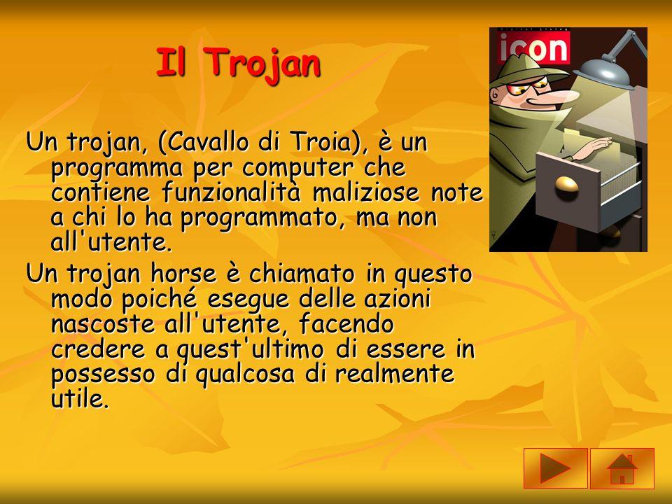 Il Trojan Un trojan, (Cavallo di Troia), è un programma per computer che contiene funzionalità maliziose note a chi lo ha programmato, ma non all'uten
