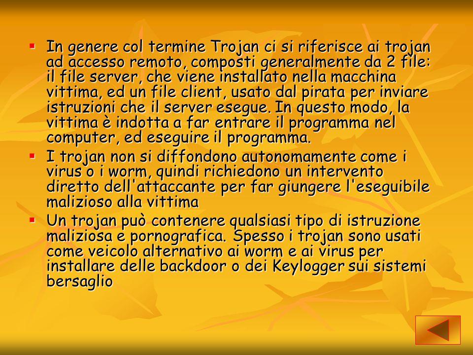  In genere col termine Trojan ci si riferisce ai trojan ad accesso remoto, composti generalmente da 2 file: il file server, che viene installato nell