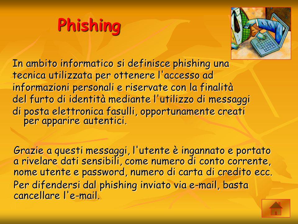 Phishing In ambito informatico si definisce phishing una tecnica utilizzata per ottenere l'accesso ad informazioni personali e riservate con la finali