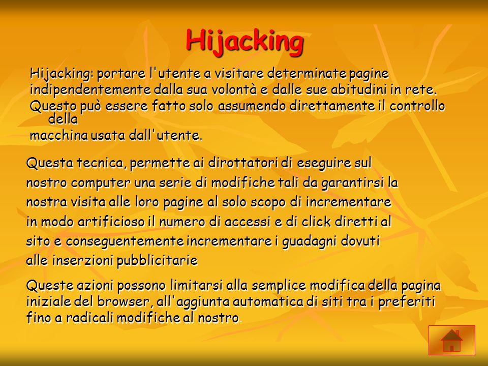 Hijacking Hijacking: portare l'utente a visitare determinate pagine indipendentemente dalla sua volontà e dalle sue abitudini in rete. Questo può esse
