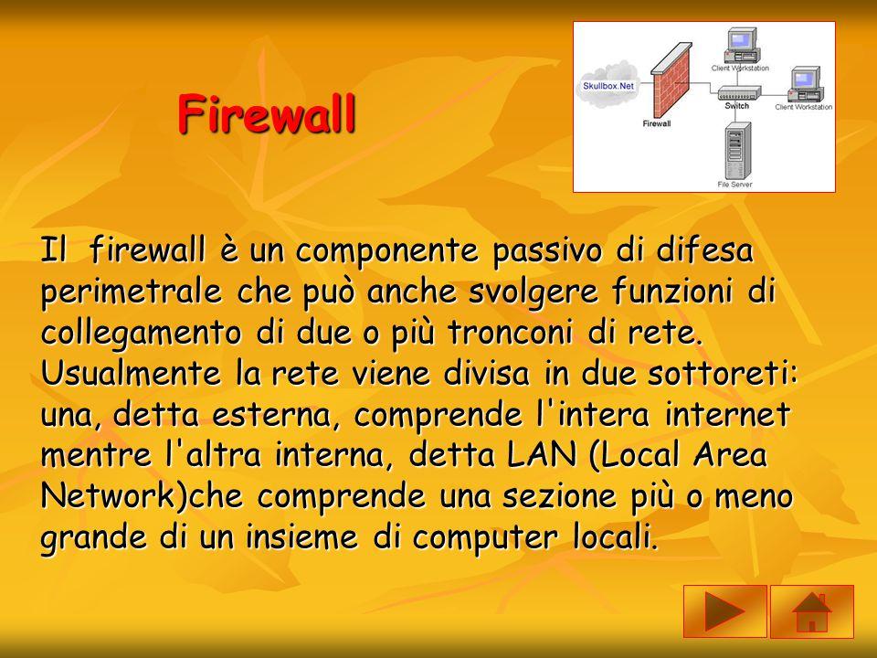 Firewall Il firewall è un componente passivo di difesa perimetrale che può anche svolgere funzioni di collegamento di due o più tronconi di rete. Usua
