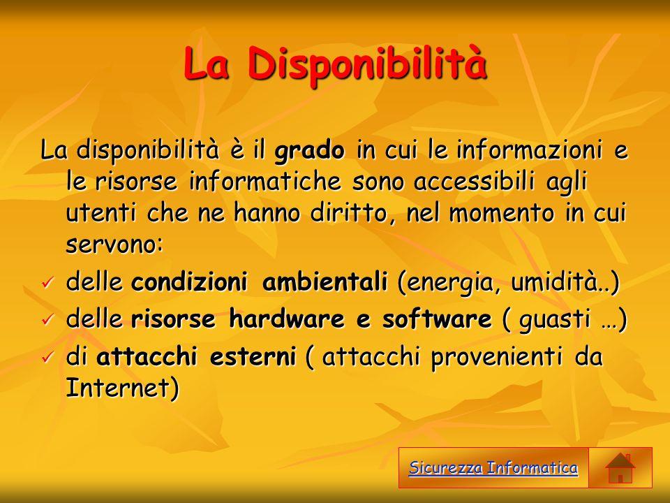 La Disponibilità La disponibilità è il grado in cui le informazioni e le risorse informatiche sono accessibili agli utenti che ne hanno diritto, nel m