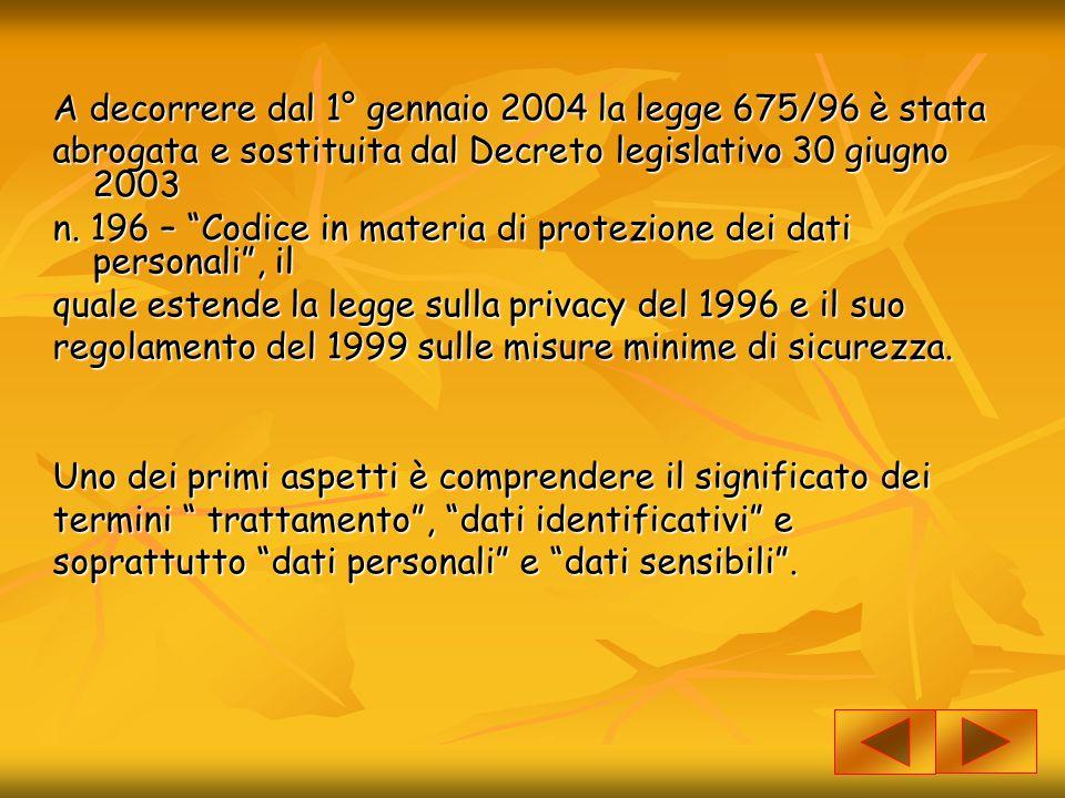 """A decorrere dal 1° gennaio 2004 la legge 675/96 è stata abrogata e sostituita dal Decreto legislativo 30 giugno 2003 n. 196 – """"Codice in materia di pr"""